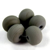 Etched Beads Opaque Dark Gray Handmade Lampwork Glass Bead Matte Bead