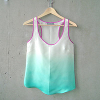 Seafoam Green Ombré Blouse - contrast fuchsia purple trim, hand dye-painted and hand sewn