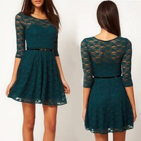 Half-sleeve Lace Dress with Belt