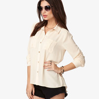 Pleated Pocket Georgette Shirt