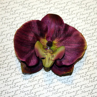 Dark Purple Orchid Flower Hair Clip