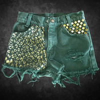 Cheetah Animal Print Shorts Hand Painted Levi&#x27;s Cutoffs One