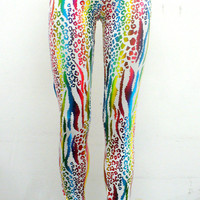 Metallic Rainbow Animal Print Leggings by Blim on Etsy