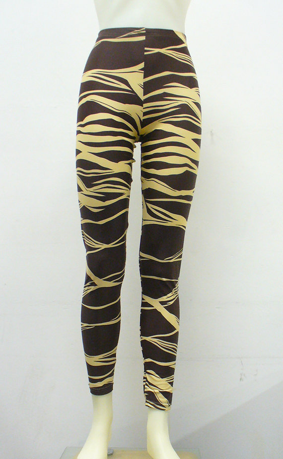 Chocolate Brown Zebra Leggings by Blim on Etsy