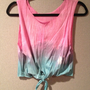 Pink and Blue Ombre Tie-Front Tank