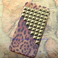 Antique brass pyramid stud Leopard case for iPhone 4 by OneLoveLi