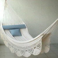 Nicamaka Single Hammock - Ecru: Patio, Lawn & Garden