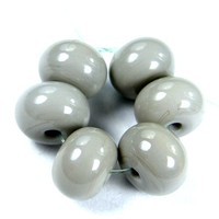 Shiny Opaque Pearl Gray Handmade Lampwork Glass Beads Glossy Beads SRA