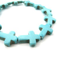 SALE - Rocker Chic Cross Shaped Stretchy Bracelet in Turquoise Blue