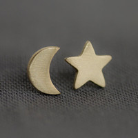 Moon Star Earrings in Bronze by uppermetalclass on Etsy