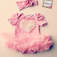 Pink and white polka dots  print baby with rosette heart  tutu Onesuit and headband set. ,Baby Girl romper.