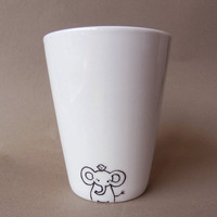 Elephant hand painted white porcelain mug by PaintMyName on Etsy