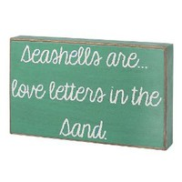 "Amazon.com: ""Seashells Are... Love Letters in the Sand"" Turqouise / White Decorative Sign: Home & Kitchen"