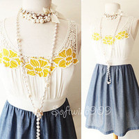 NEW Ivory/Denim Blue Yellow Floral Applique Lace Crochet Contrast Summer Dress