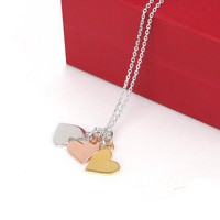 Yesterday, Today, Forever Necklace with Mixed Metal Sideways Hea - Designer Shoes|Bqueenshoes.com