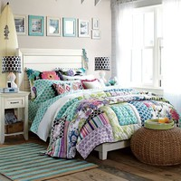 Tropical Garden Patchwork Quilt + Sham