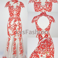 Mermaid High Neck Lace Red Evening Gown Prom Dress Wedding Dress Evening Dress