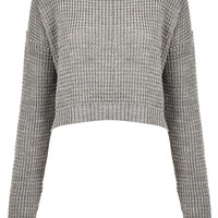Knitted Textured Grunge Crop Jumper - Topshop USA