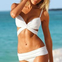 WHITE cut out padded bikini swimsuit