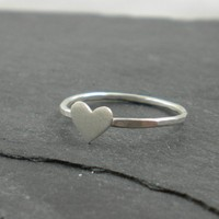 Heart Ring Silver Hammered Band Wedding Love by SimplyRiveting