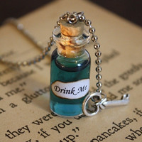 ON SALE Alice in Wonderland Drink Me Vial Necklace