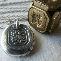 Victorian Floral Wax Seal Necklace. Wax Seal Jewelry in Fine Silver. Petite Mini Flower Pendant