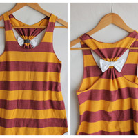 Striped Mustard Bow Tank Top  Small  Limited Edition by personTen