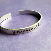 Cancer Survivor- Hand Stamped Aluminum Bracelet- Awareness Ribbon