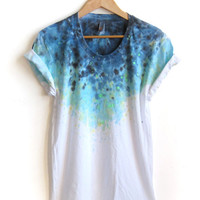 The Original &quot;Splash Dyed&quot; Hand PAINTED Scoop Neck Pinned Rolled Cuffs Tee in White Spectrum Starscape - S M L XL 2XL 3XL
