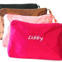 Custom Cosmetic Bag in Silk Dupioni - Monogrammed Cosmetic Bags - Personalized Make Up Bags