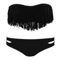Zicac Fashion Women's Sexy Tassel Padded Bandeau Fringe Bikini Set Beauty Women Favor 2pcs Padded boho fringe top strapless bikini Swimwear
