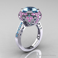 Modern Edwardian 10K White Gold Aquamarine Light Pink Sapphire Engagement Ring Wedding Ring Y404-10KWGLPSAQ