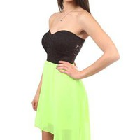 strapless lace bodice summer dress with chiffon high low skirt - 1000046557 - debshops.com