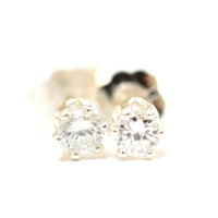 Handmade Sterling Silver Pierced Earrings Studs Posts Tiny Clear CZ