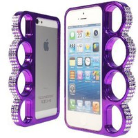 WwWSuppliers Stylish Bling Crystals Rhinestones Diamonds Purple Knuckles Case for Apple iPhone 5 5S Unique Elegant Fancy Fashion Rings Hard Bumper Cover in Retail Package + Free Stylus & Screen Protector