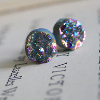 Rainbow Druzy Stud Earrings, Small Earrings, Drusy Cabochon, Raw, Round Earrings, Stone