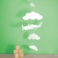 Baby Crib Mobile, Airplane Nursery Mobile, Baby Mobile, Nursery Mobile Decor - Airplane and Clouds Mobile