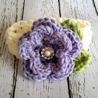The Ava Flower Headband in Purple, Ecru and Celery Green 0-3 Month Size- READY TO SHIP