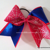Silver/Blue Spidey  Medium Youth Cheer Bow Hair Bow Cheerleading