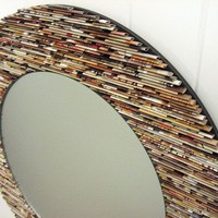 neutral round  mirror wall art made from by colorstorydesigns