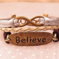 Infinity and Believe. cuff style bracelet
