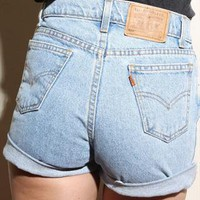 Vintage Levi LIGHT MEDIUM BLUE Denim High Waisted SHORTS  from Boutique 73