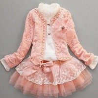 Light pink/peach skirt and jacket set