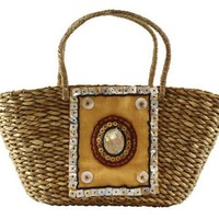 Decorative Straw Bag with Seashell Details