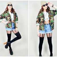 VINTAGE 90s USA u.s. air force military patches camo camouflage grunge jacket indie festival forest green
