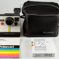 Polaroid SX-70 One Step White Rainbow Stripe Instant Land Camera Tested w/ Impossible Project PX 70 Color Protection Film &amp; Black Camera Bag