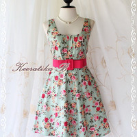 Sound Of Summer - Sweet Elegant Spring Summer Sundress Floral Print Sleeveless Style Party Beach Tropical Season Dress