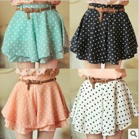 Polka Dot Skort w/Belt (More Colors)