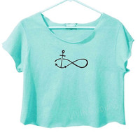TIFFANY BLUE INFINITY Anchor Tie Dye Crop Top Retro Custom Shirt