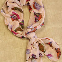 Pretty Bird - Colorful Bird Print - Peach - Printed Fashion Scarf - Free Shipping